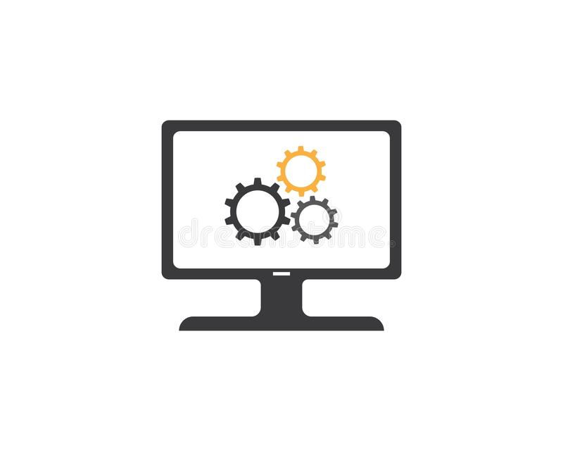 Διανυσματικό πρότυπο λογότυπων επισκευής υπολογιστών και lap-top απεικόνιση αποθεμάτων