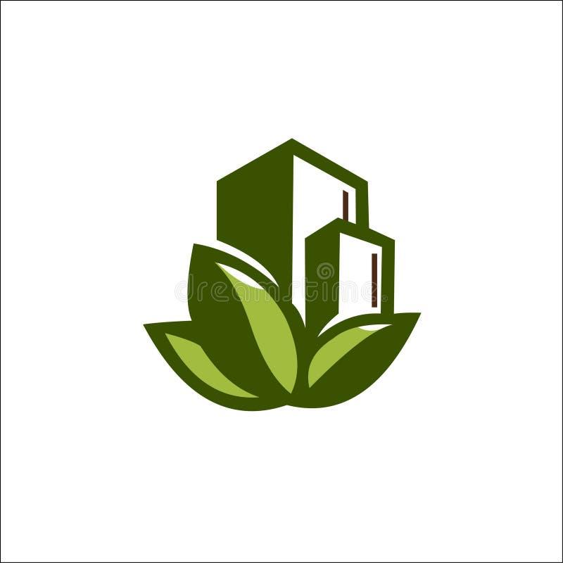 Διανυσματικό πρότυπο λογότυπων οικοδόμησης φύσης Eco διανυσματική απεικόνιση