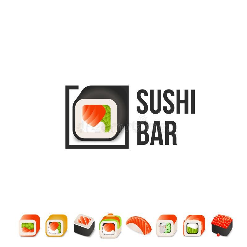 Διανυσματικό πρότυπο λογότυπων σουσιών και ρόλων Ιαπωνική ασιατική λιχουδιά κουζινών logotype Ελάχιστο σχέδιο επιλογών, μαύρα σύν απεικόνιση αποθεμάτων