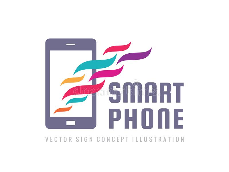 Διανυσματικό πρότυπο λογότυπων Smartphone Κινητό τηλεφωνικό δημιουργικό σημάδι Σύγχρονα διακριτικά τεχνολογίας Σύμβολο εικονιδίων διανυσματική απεικόνιση