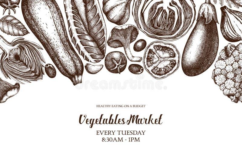 Διανυσματικό πρότυπο με σκιαγραφημένα τα χέρι λαχανικά Τρύγος veggies και απεικονίσεις καρυκευμάτων Υγιή σχέδια τροφίμων για το χ ελεύθερη απεικόνιση δικαιώματος