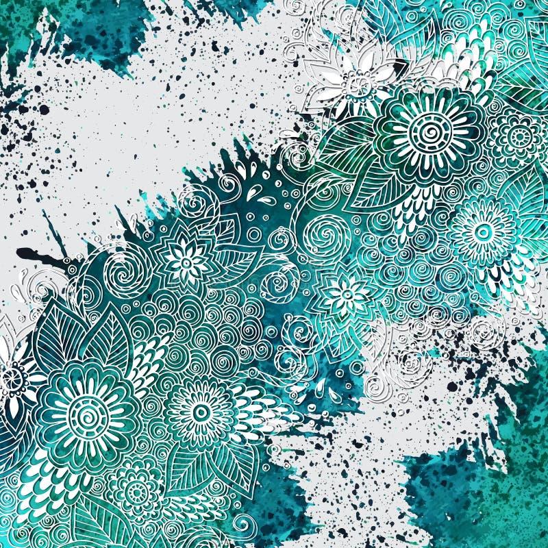 Διανυσματικό πρότυπο με το μπλε χρώμα watercolor, doodle απεικόνιση αποθεμάτων
