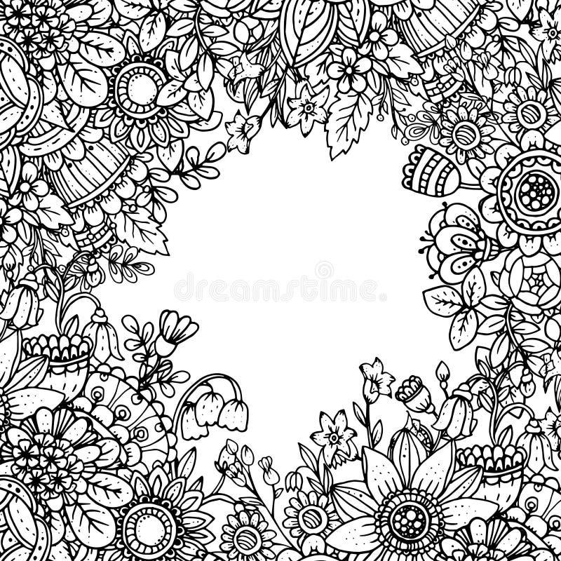 Διανυσματικό πρότυπο με το όμορφο μονοχρωματικό floral σχέδιο στο dood ελεύθερη απεικόνιση δικαιώματος
