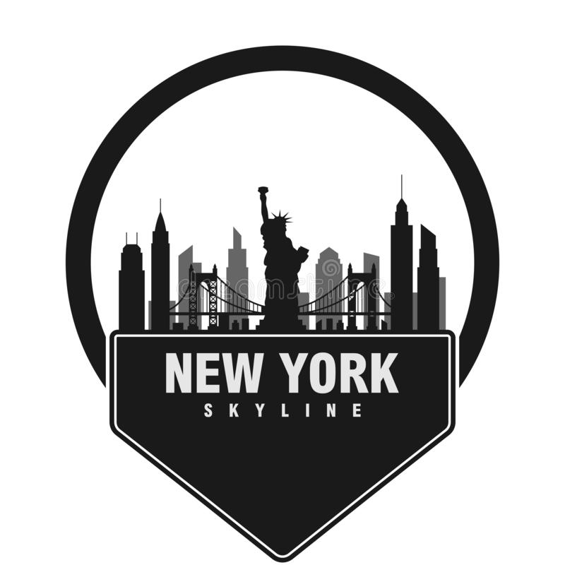Διανυσματικό πρότυπο οριζόντων πόλεων της Νέας Υόρκης διανυσματική απεικόνιση