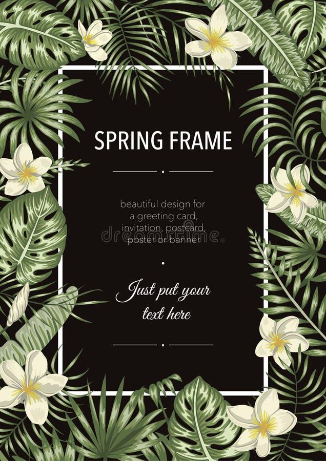 Διανυσματικό πρότυπο πλαισίων με τα τροπικά φύλλα και τα λουλούδια στο μαύρο υπόβαθρο απεικόνιση αποθεμάτων
