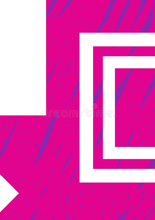 Διανυσματικό πρότυπο προτύπων αφισών Συρμένο το χέρι ρόδινο και μπλε υπόβαθρο απεικόνισης, διακοσμητικά στοιχεία σχεδιάζει τον κα διανυσματική απεικόνιση