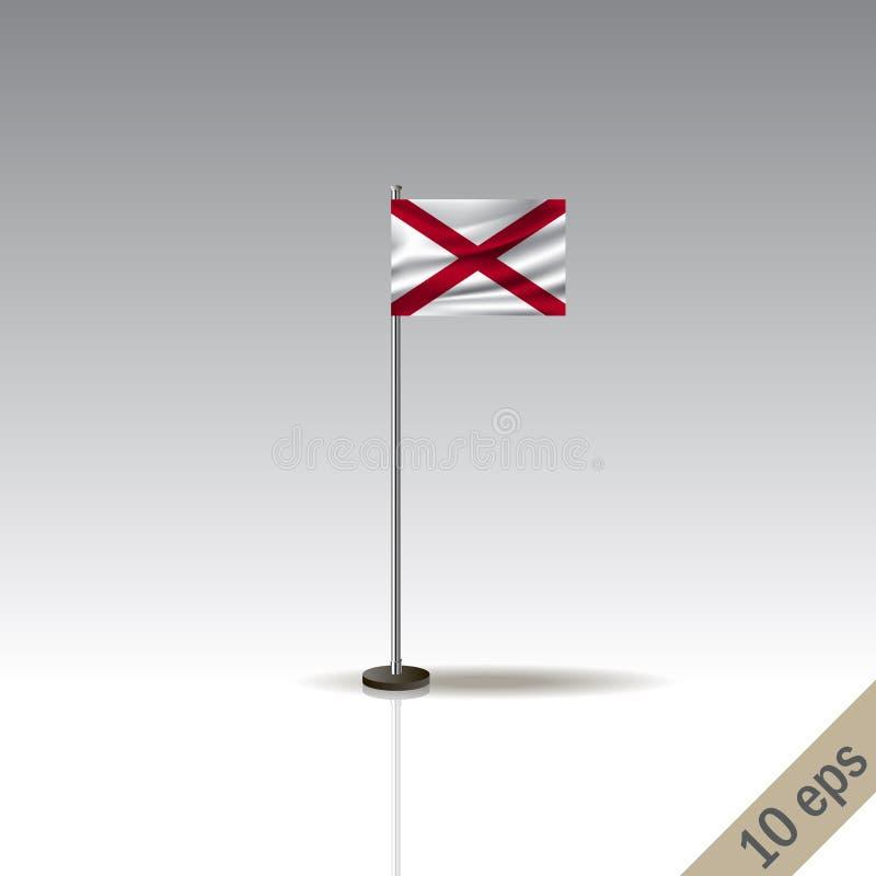 Διανυσματικό πρότυπο σημαιών της ΑΛΑΜΠΑΜΑ Κυματίζοντας σημαία της ΑΛΑΜΠΑΜΑ σε έναν μεταλλικό πόλο, που απομονώνεται σε ένα γκρίζο διανυσματική απεικόνιση
