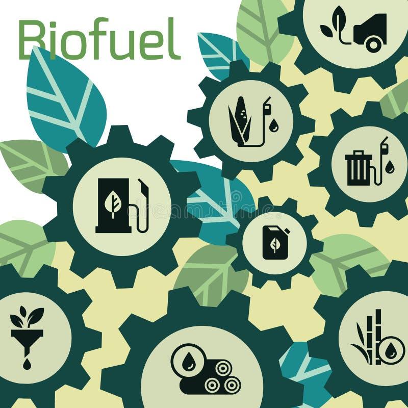 Διανυσματικό πρότυπο στο θέμα των βιολογικών καυσίμων, φιλικά προς το περιβάλλον καύσιμα, φυσική ενέργεια διανυσματική απεικόνιση