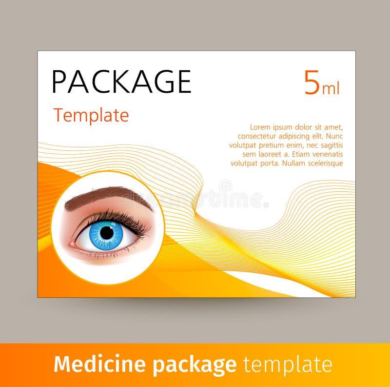 Διανυσματικό πρότυπο συσκευασίας ιατρικής με το ρεαλιστικό μάτι Κιβώτιο με τα ιατρικά εξαρτήματα για την προσοχή ματιών, που χρησ απεικόνιση αποθεμάτων