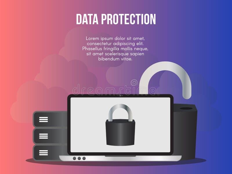 Διανυσματικό πρότυπο σχεδίου απεικόνισης έννοιας προστασίας δεδομένων διανυσματική απεικόνιση