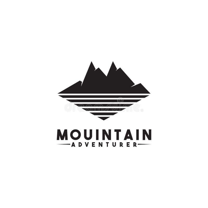 Διανυσματικό πρότυπο σχεδίου εικονιδίων λογότυπων τοπίων βουνών ελεύθερη απεικόνιση δικαιώματος
