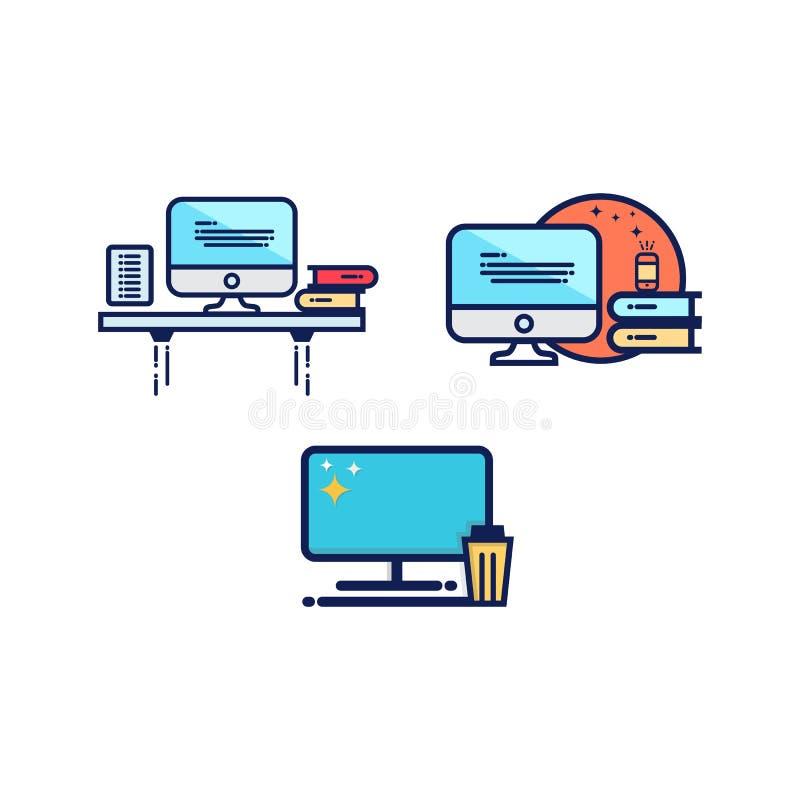 Διανυσματικό πρότυπο σχεδίου εικονιδίων υπολογιστών απεικόνιση αποθεμάτων