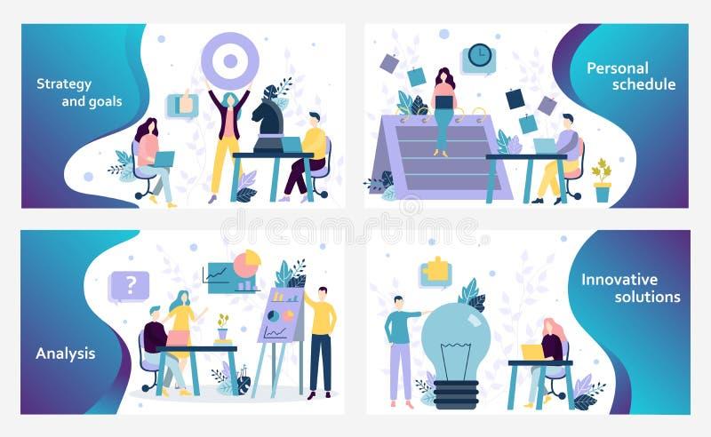 Διανυσματικό πρότυπο σχεδίου ιστοχώρου Επιχειρησιακή στρατηγική, οικονομικές έκθεση και ανάλυση στοιχείων, δημιουργική ιδέα Προσγ απεικόνιση αποθεμάτων