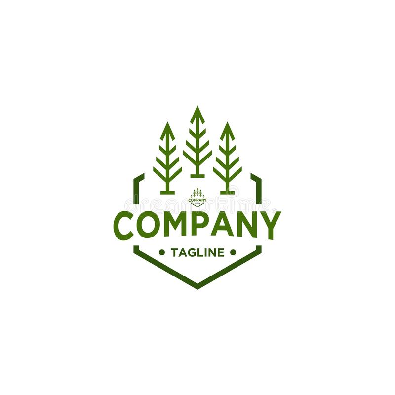 Διανυσματικό πρότυπο σχεδίου λογότυπων δέντρων διανυσματική απεικόνιση