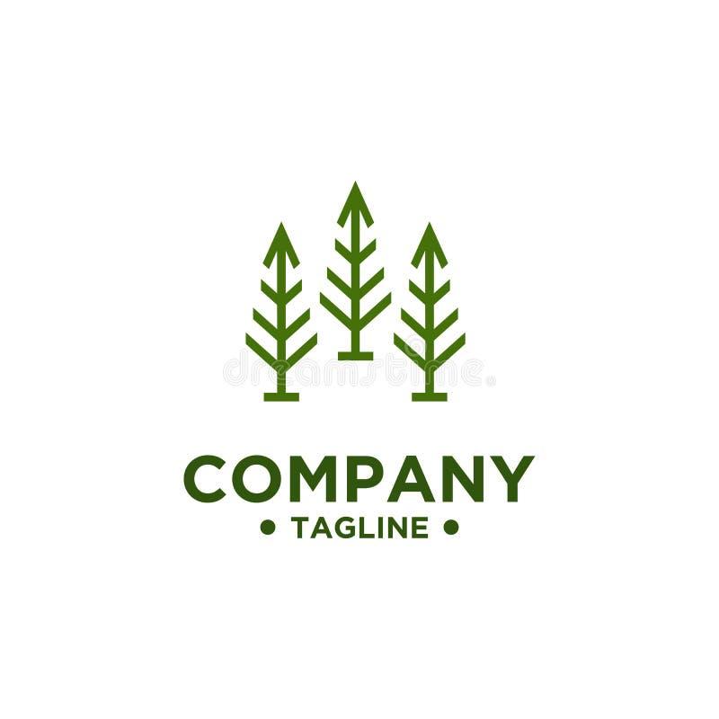 Διανυσματικό πρότυπο σχεδίου λογότυπων δέντρων ελεύθερη απεικόνιση δικαιώματος