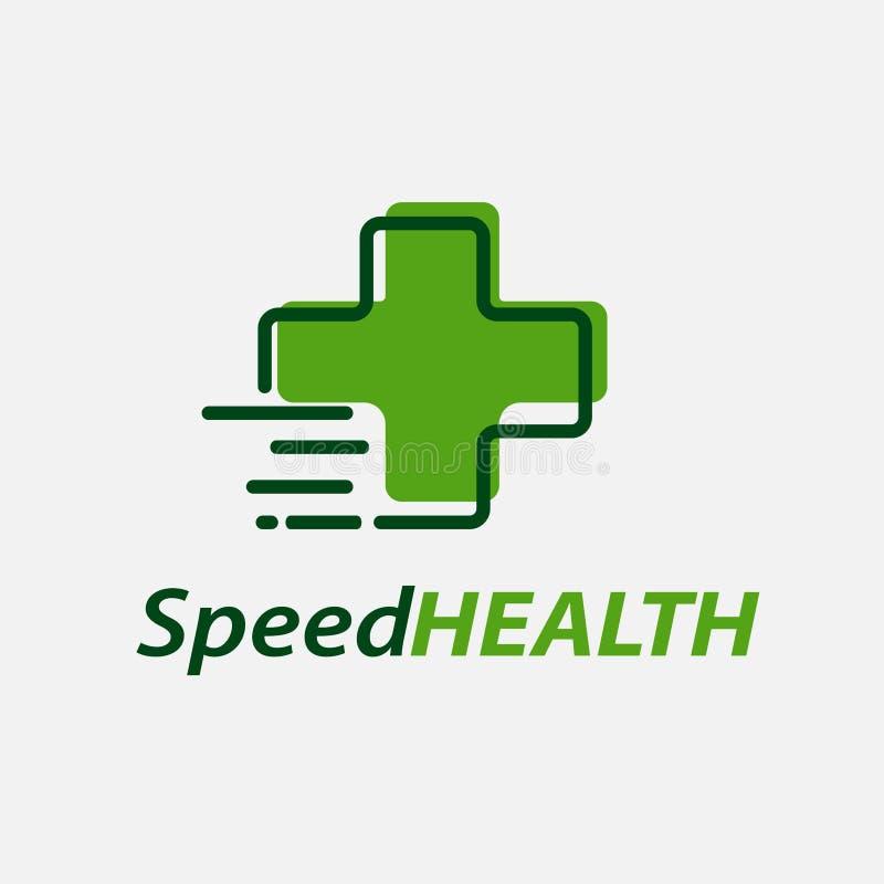 Διανυσματικό πρότυπο σχεδίου λογότυπων υγείας ταχύτητας ελεύθερη απεικόνιση δικαιώματος