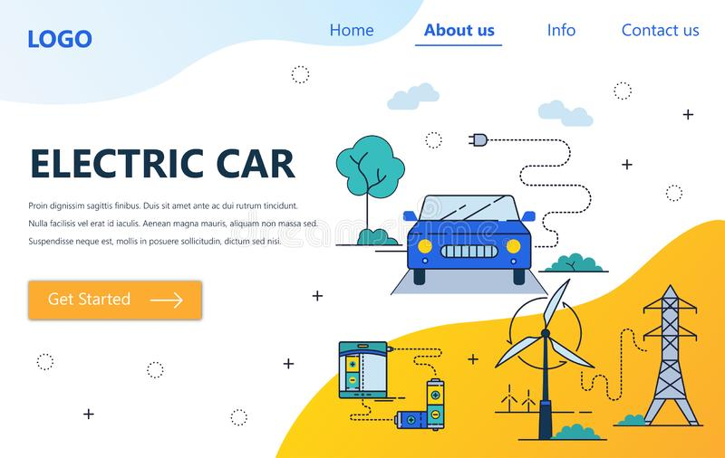 Διανυσματικό πρότυπο σχεδίου τέχνης ιστοχώρου γραμμικό Ηλεκτρική πηγή ισχύος αυτοκινήτων και ανεμοστροβίλων Έννοιες σελίδων προσγ διανυσματική απεικόνιση