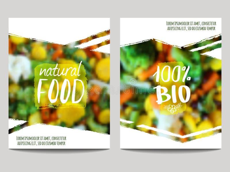 Διανυσματικό πρότυπο σχεδίου φυλλάδιων με το υπόβαθρο θαμπάδων με τα λαχανικά και τις ετικέτες eco Υγιείς φρέσκοι τρόφιμα, χορτοφ διανυσματική απεικόνιση