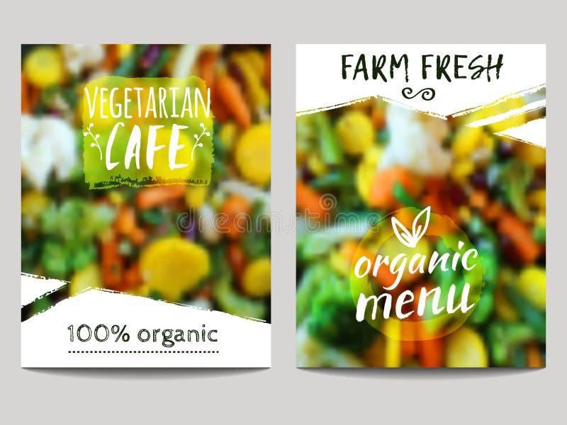 Διανυσματικό πρότυπο σχεδίου φυλλάδιων με το υπόβαθρο θαμπάδων με τα λαχανικά και τις ετικέτες eco Υγιείς φρέσκοι τρόφιμα, χορτοφ απεικόνιση αποθεμάτων