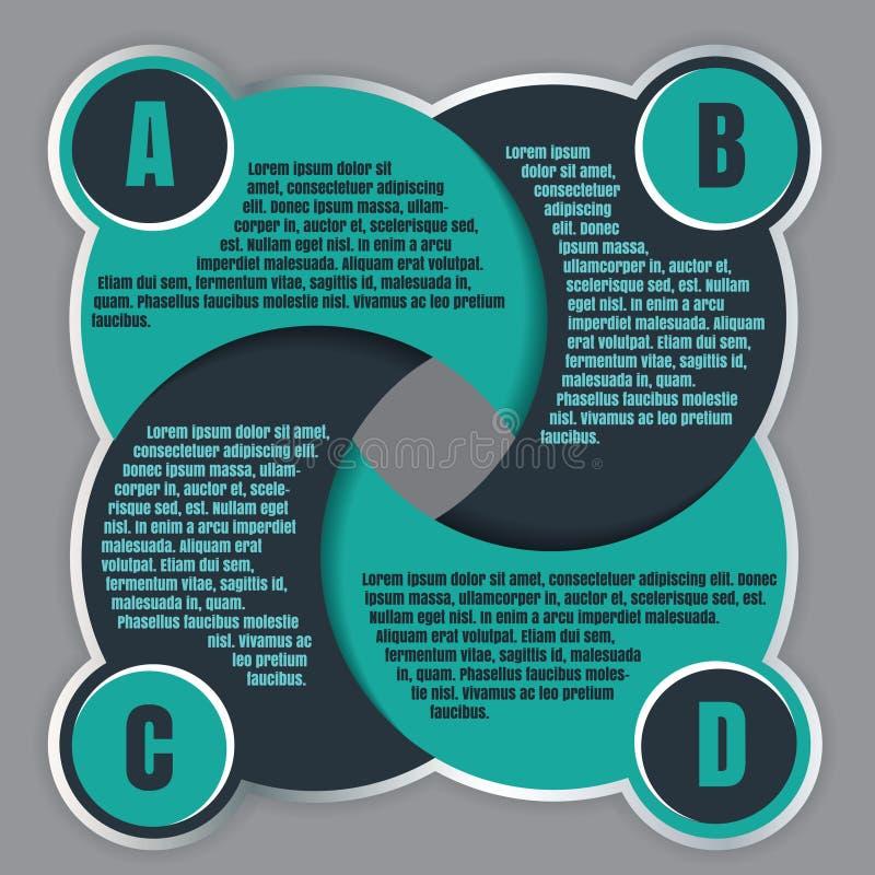 Διανυσματικό πρότυπο σχεδίου Infographic με τέσσερα βήματα ABCD ελεύθερη απεικόνιση δικαιώματος