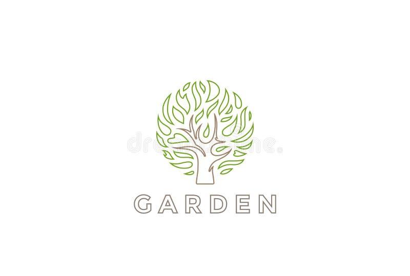 Διανυσματικό πρότυπο σχεδίου μορφής κύκλων λογότυπων δέντρων Οργανικό φυσικό εικονίδιο έννοιας Logotype κήπων εγκαταστάσεων ελεύθερη απεικόνιση δικαιώματος