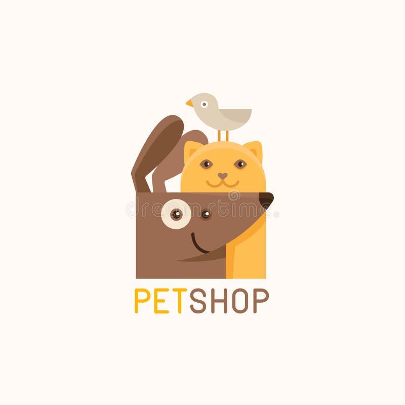 Διανυσματικό πρότυπο σχεδίου λογότυπων για τα καταστήματα κατοικίδιων ζώων απεικόνιση αποθεμάτων