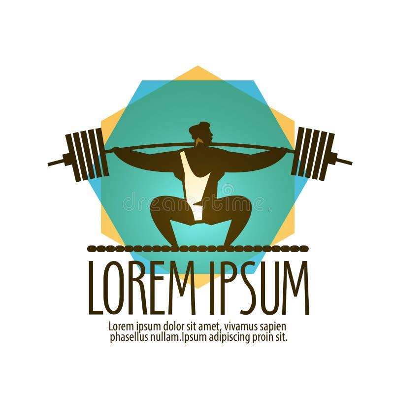 Διανυσματικό πρότυπο σχεδίου λογότυπων γυμναστικής Ανυψωτής βάρους ή ελεύθερη απεικόνιση δικαιώματος