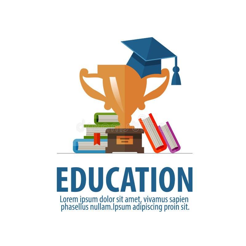 Διανυσματικό πρότυπο σχεδίου λογότυπων εκπαίδευσης σχολείο ή ελεύθερη απεικόνιση δικαιώματος