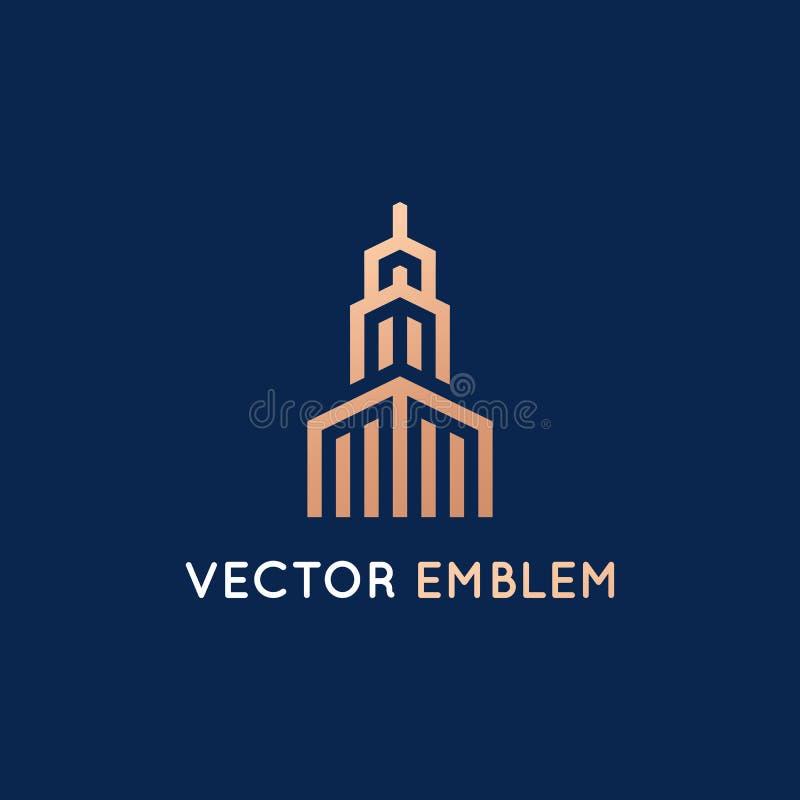 Διανυσματικό πρότυπο σχεδίου λογότυπων - σημάδι αρχιτεκτονικής και οικοδόμησης απεικόνιση αποθεμάτων