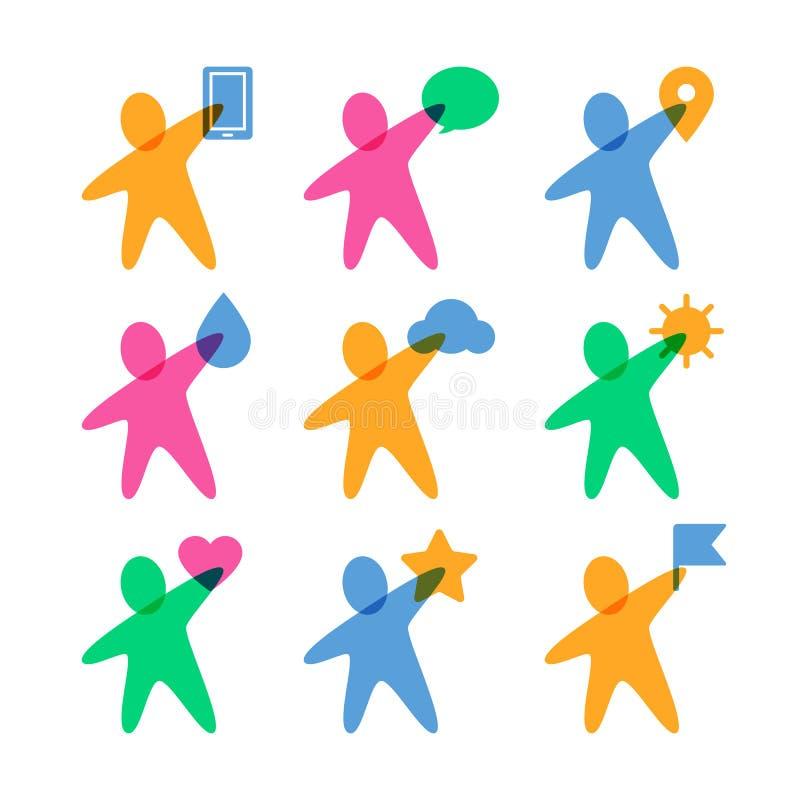 Διανυσματικό πρότυπο σχεδίου λογότυπων Σύνολο ζωηρόχρωμου αφηρημένου ευτυχούς peop ελεύθερη απεικόνιση δικαιώματος