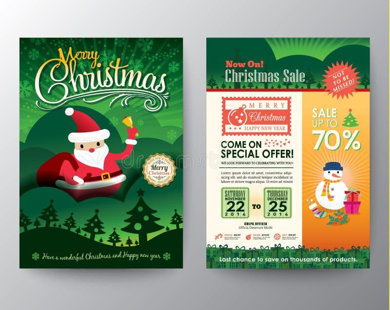 Διανυσματικό πρότυπο σχεδιαγράμματος σχεδίου ιπτάμενων φυλλάδιων πώλησης Χριστουγέννων απεικόνιση αποθεμάτων