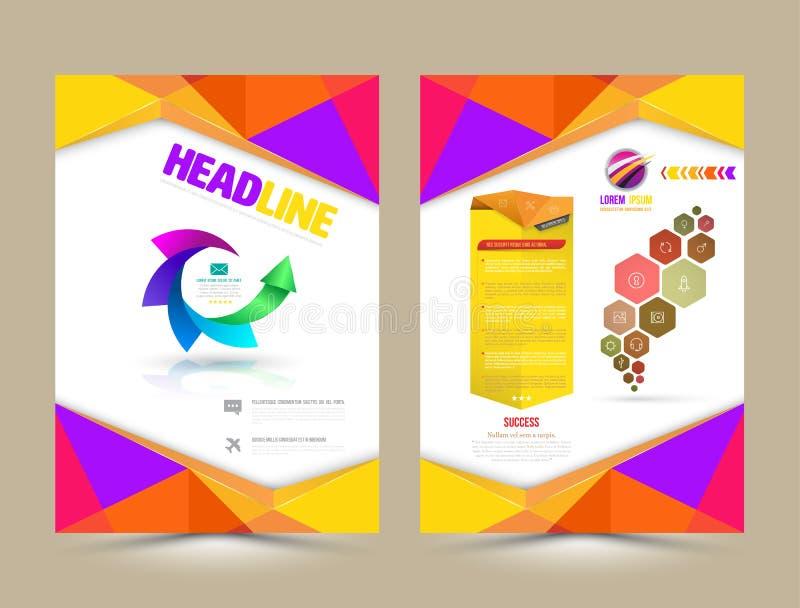 Διανυσματικό πρότυπο σχεδιαγράμματος σχεδίου ιπτάμενων φυλλάδιων διανυσματική απεικόνιση
