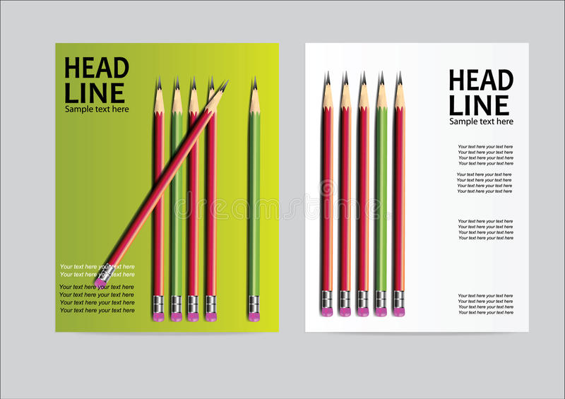 Διανυσματικό πρότυπο σχεδιαγράμματος σχεδίου ιπτάμενων φυλλάδιων, μέγεθος A4, πρώτη σελίδα και πίσω σελίδα, ελεύθερη απεικόνιση δικαιώματος