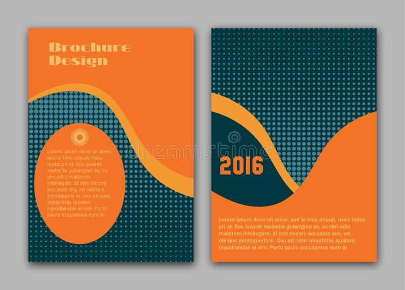 Διανυσματικό πρότυπο σχεδιαγράμματος σχεδίου ιπτάμενων φυλλάδιων, μέγεθος A4, πρώτη σελίδα και πίσω σελίδα ελεύθερη απεικόνιση δικαιώματος