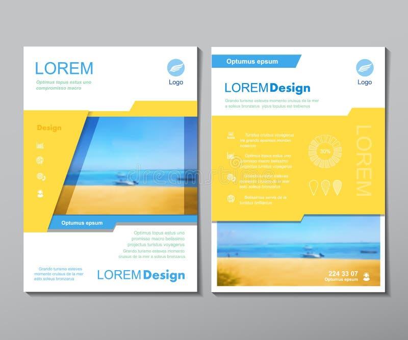 Διανυσματικό πρότυπο σχεδιαγράμματος σχεδίου ιπτάμενων φυλλάδιων A4 στο μέγεθος, traver κάλυψη βιβλίων περιοδικών ή ετήσια έκθεση ελεύθερη απεικόνιση δικαιώματος