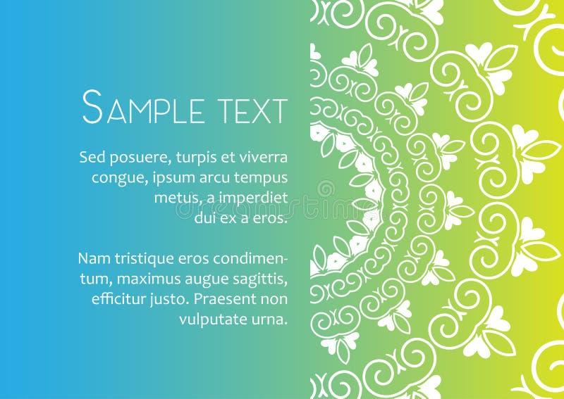 Διανυσματικό πρότυπο της κάρτας με το κυκλική σχέδιο mandala, τις επαγγελματικές κάρτες ή την κάρτα δώρων διανυσματική απεικόνιση