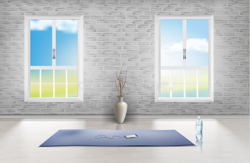 Διανυσματικό πρότυπο του κενού δωματίου, στούντιο για τη γιόγκα διανυσματική απεικόνιση