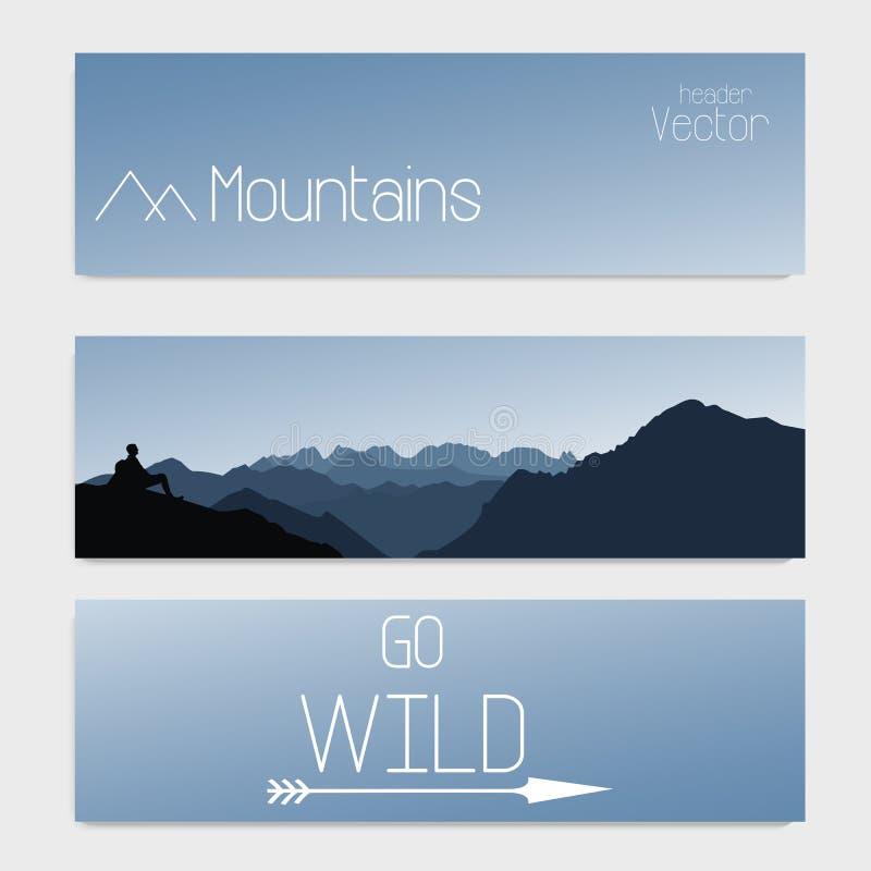 Διανυσματικό πρότυπο τριών επιγραφών με τον ουρανό και τα βουνά ανασκόπηση που θολώνεται διανυσματική απεικόνιση