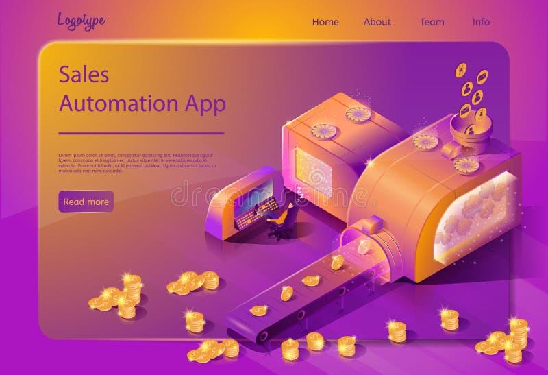 Διανυσματικό πρότυπο υπηρεσία online αυτοματοποίησης πωλήσεων διανυσματική απεικόνιση