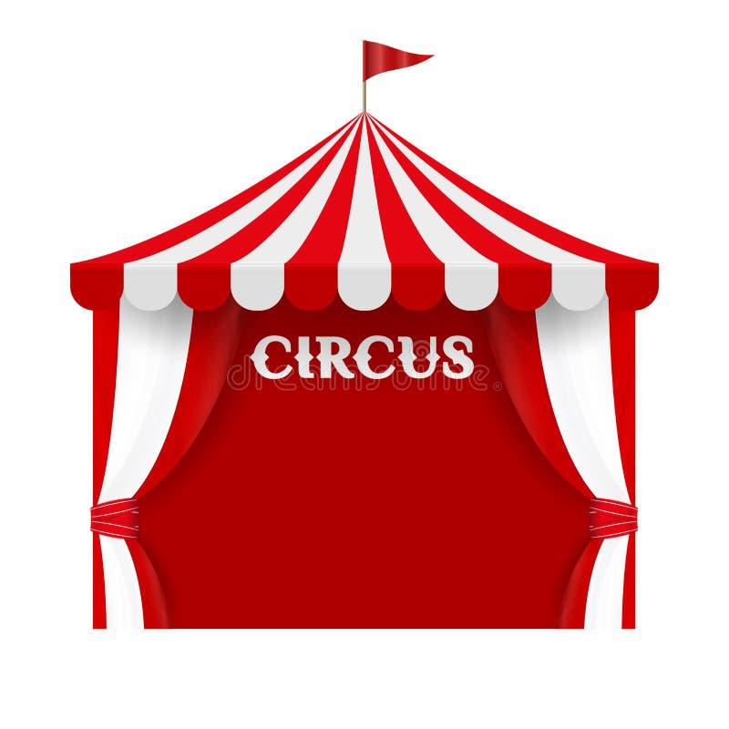Διανυσματικό πρότυπο υποβάθρου αφισών σκηνών τσίρκων Κόκκινα και άσπρα λωρίδες, ριγωτός θόλος, θόλος ελεύθερη απεικόνιση δικαιώματος