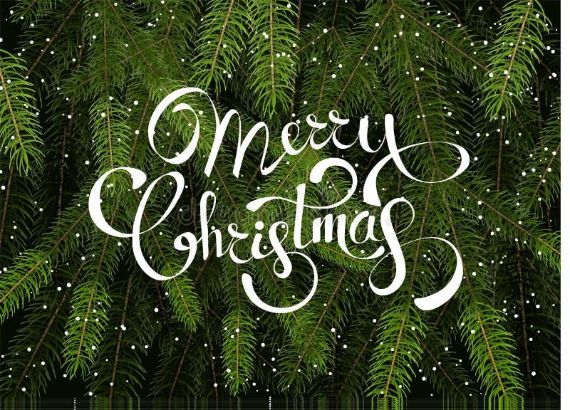 Διανυσματικό πρότυπο υποβάθρου Χαρούμενα Χριστούγεννας με τους πράσινους κλάδους δέντρων έλατου ελεύθερη απεικόνιση δικαιώματος