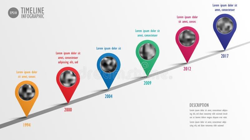 Διανυσματικό πρότυπο υπόδειξης ως προς το χρόνο κύριων σημείων επιχείρησης Infographic ελεύθερη απεικόνιση δικαιώματος