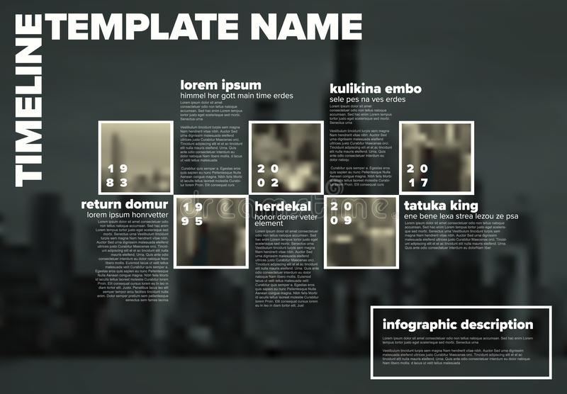 Διανυσματικό πρότυπο υπόδειξης ως προς το χρόνο Infographic με τις φωτογραφίες ελεύθερη απεικόνιση δικαιώματος