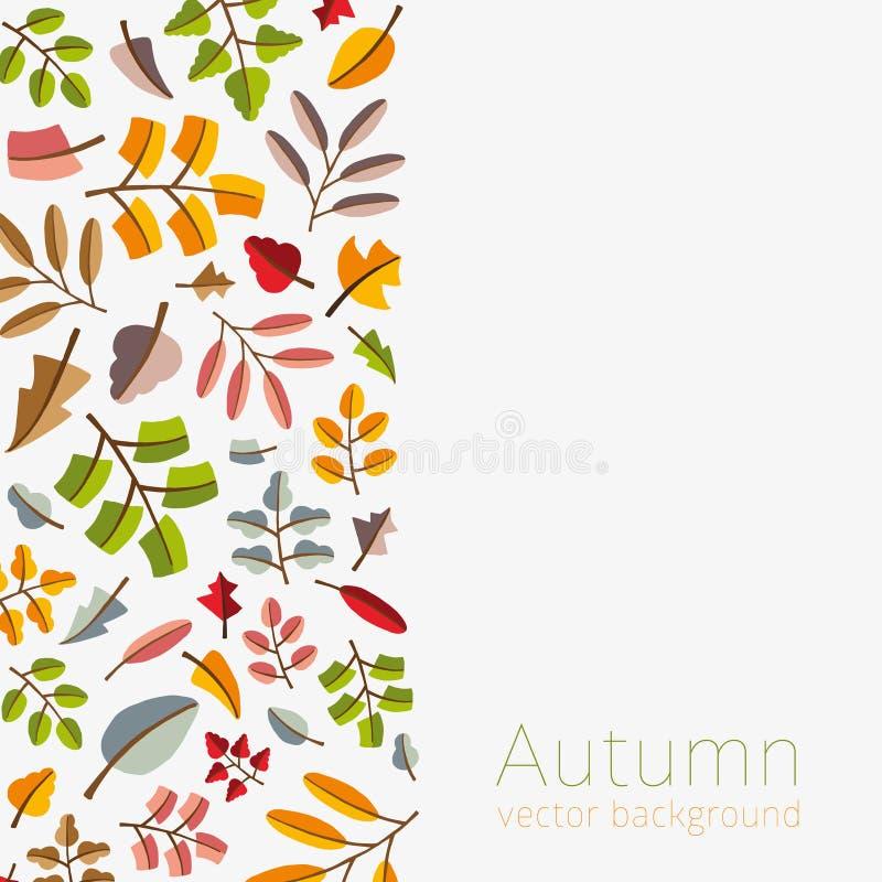 Διανυσματικό πρότυπο φθινοπώρου Σύγχρονος τυποποιημένος ζωηρόχρωμος βγάζει φύλλα διανυσματική απεικόνιση
