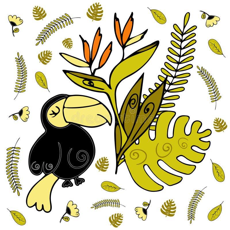 Διανυσματικό πρότυπο ύφους Toucan doodle Τροπικό πουλί ελεύθερη απεικόνιση δικαιώματος