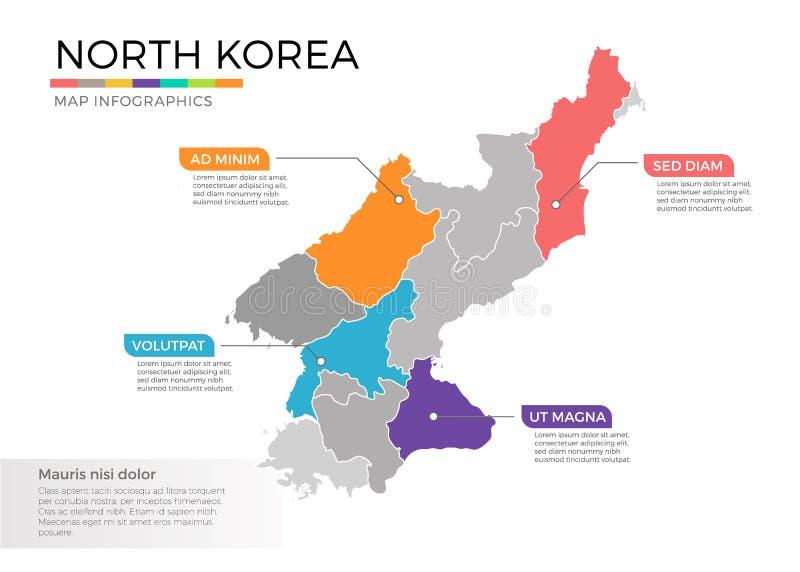 Διανυσματικό πρότυπο infographics χαρτών Βόρεια Κορεών με τις περιοχές και τα σημάδια δεικτών διανυσματική απεικόνιση