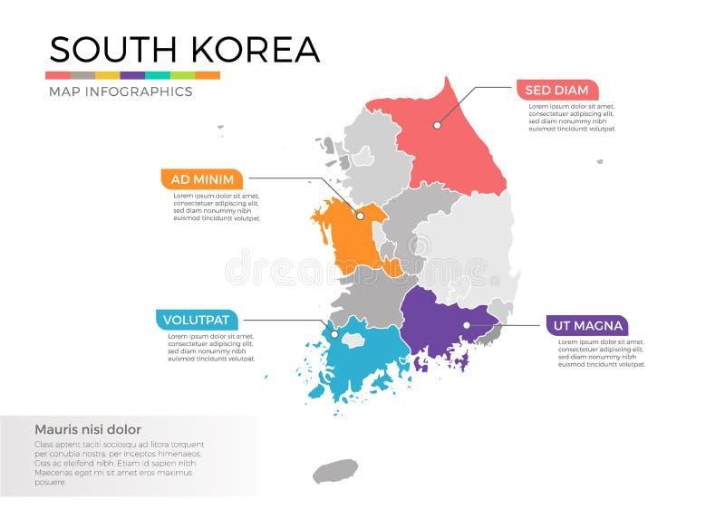 Διανυσματικό πρότυπο infographics χαρτών της Νότιας Κορέας με τις περιοχές και τα σημάδια δεικτών διανυσματική απεικόνιση