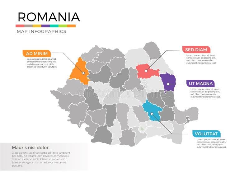 Διανυσματικό πρότυπο infographics χαρτών της Ρουμανίας με τις περιοχές και τα σημάδια δεικτών διανυσματική απεικόνιση