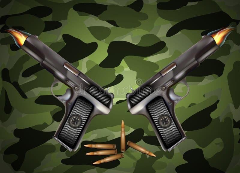 Διανυσματικό πυροβόλο όπλο με τις σφαίρες ελεύθερη απεικόνιση δικαιώματος