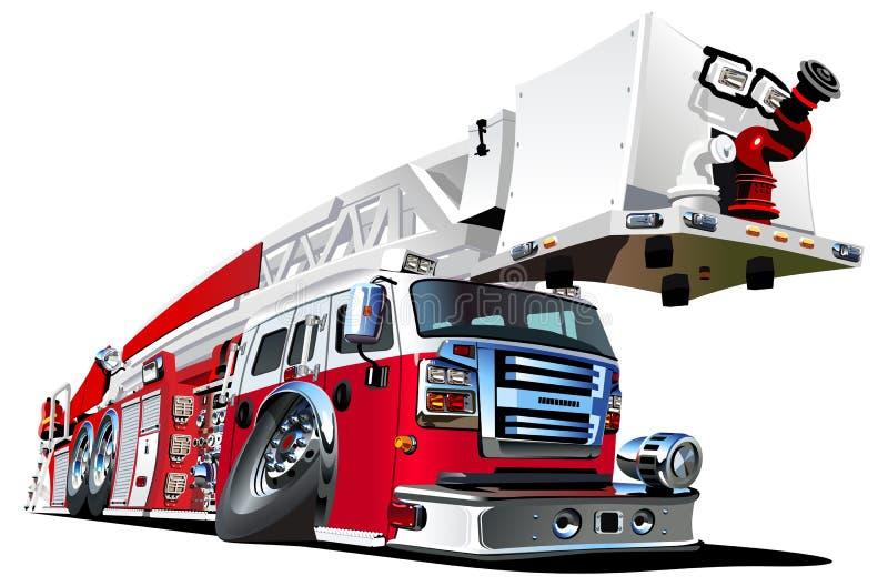 Διανυσματικό πυροσβεστικό όχημα κινούμενων σχεδίων απεικόνιση αποθεμάτων